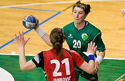Jankovic Alja of Krim vs Pus Vesna of Olimpija at handball Slovenian cup Finals match  between RK Olimpija and RK Krim Mercator, on March 28, 2010, SD Leon Stukelj, Novo mesto, Slovenia. (Photo by Vid Ponikvar / Sportida)