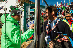 Goran Janus head coach of team Slovenia and Franci Petek during the Ski Flying Hill Team Competition at Day 3 of FIS Ski Jumping World Cup Final 2016, on March 19, 2016 in Planica, Slovenia. Photo by Grega Valancic / Sportida