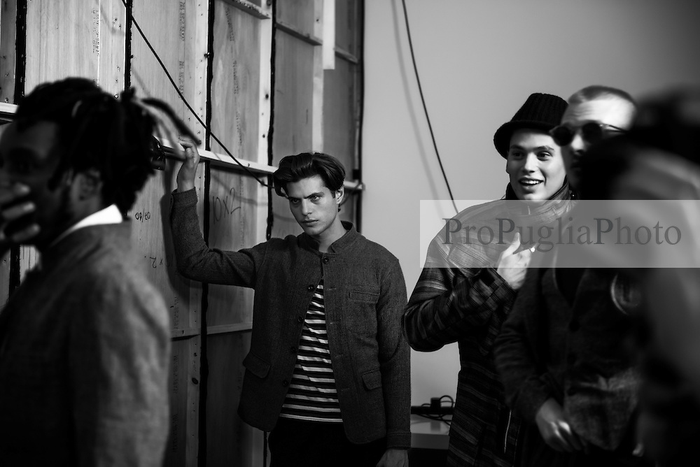 Backstage photography during Oliver Spencer menswear catwalk  at Londonb Fashion Week Spring/Summer 2017. The Oliver Spencer label was founded in 2002 the brand has grown and sells to over 151 stores worldwide and has 4 stand-alone stores.   <br />  <br /> Spencer has developed a sophisticated and intelligent design approach and continues to design a complete, contemporary wardrobe for the modern, fashion-conscious man. He draws inspiration from the world of art and architecture and London's ever-evolving subcultures.   Photo Kash/ProPugliaPhoto