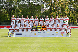 "02.08.2012, Traingsgelaende, Stuttgart, GER, 1.FBL, VfB Stuttgart, Fototermin, im Bild Hintere Reihe von links nach rechts:, Raphael HOLZHAUSER (VfB Stuttgart), Antonio RUEDIGER (VfB Stuttgart), Georg NIEDERMEIER (VfB Stuttgart), Zdravko KUZMANOVIC (VfB Stuttgart), William KVIST (VfB Stuttgart), Tim HOOGLAND (VfB Stuttgart), Mamadou BAH (VfB Stuttgart), Martin HARNIK (VfB Stuttgart), Serdar TASCI (VfB Stuttgart), Vedad IBISEVIC (VfB Stuttgart), Christian GENTNER (VfB Stuttgart), MAZA (VfB Stuttgart), Mittlere Reihe v.l.n.r.:, Trainer Bruno LABBADIA (VfB Stuttgart), Co-Trainer Eddy SOEZER (VfB Stuttgart), Torwart-Trainer Andreas MENGER (VfB Stuttgart), Konditions-und Rehatrainer Dr. Christos PAPADOPOULOS (VfB Stuttgart), Therapeut Gerhard WOERN (VfB Stuttgart), Therapeut Manuel ROTH (VfB Stuttgart), Therapeut Detlef MUELLER (VfB Stuttgart), Teambetreuer Ralph HERKOMMER (VfB Stuttgart), Zeugwart Michael MEUSCH (VfB Stuttgart), Zeugwart Kostas PAPANDRAFILLIS (VfB Stuttgart), Maskottchen FRITZLE (VfB Stuttgart), Vordere Reihe v.l.n.r.: Arthur BOKA (VfB Stuttgart), Shinji OKAZAKI (VfB Stuttgart), CACAU (VfB Stuttgart), Tunay TORUN (VfB Stuttgart), Johan AUDEL (VfB Stuttgart), Torwart Marc ZIEGLER (VfB Stuttgart), Torwart Sven ULREICH (VfB Stuttgart), Torwart Andre WEIS (VfB Stuttgart), Cristian MOLINARO (VfB Stuttgart), Daniel DIDAVI (VfB Stuttgart), Kevin STOEGER (VfB Stuttgart), Ibrahima TRAORE (VfB Stuttgart), und Tamas HAJNAL (VfB Stuttgart) // during the official Team Photo Call of the German Bundesliga Club ""VfB Stuttgart at the Trainingscenter, Stuttgart, Germany on 2012/08/02. EXPA Pictures © 2012, PhotoCredit: EXPA/ Eibner/ Wolfgang Stuetzle..***** ATTENTION - OUT OF GER *****"