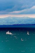 Blick auf den Bodensee, dunkle Wolken, Überlinger See bei Meersburg, Baden-Württemberg, Deutschland