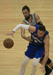 November 15, 2018 - Los Angeles, California, U.S - Marco Belinelli #18 of the San Antonio Spurs strips the ball from Danilo Gallinari #8 of the Los Angeles Clippers during their NBA game on Thursday November 15, 2018 at the Staples Center in Los Angeles, California. (Credit Image: © Prensa Internacional via ZUMA Wire)