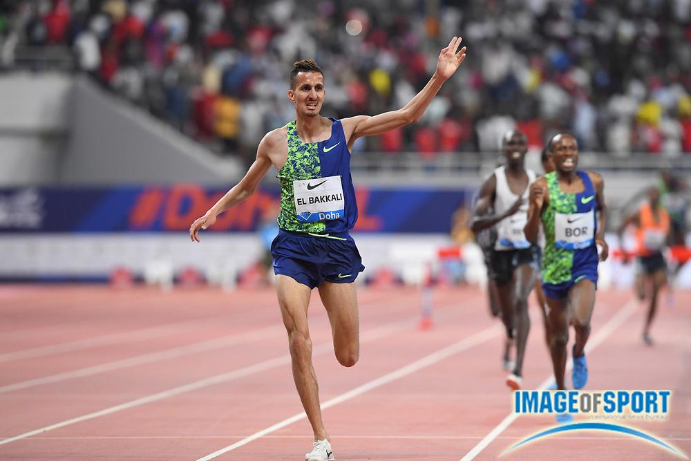 Soufiane El Bakkali (MAR) celebrates after winning the steeplechase in 8:07.22 during the IAAF Doha Diamond League 2019 at Khalifa International Stadium, Friday, May 3, 2019, in Doha, Qatar