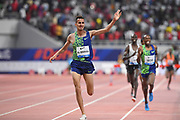 Soufiane El Bakkali (MAR) celebrates after winning the steeplechase in 8:07.22 during the IAAF Doha Diamond League 2019 at Khalifa International Stadium, Friday, May 3, 2019, in Doha, Qatar