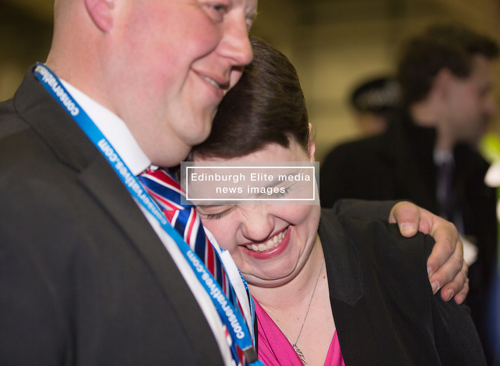 Scottish Parliament Election 2016 Royal Highland Centre Ingliston Edinburgh 05 May 2016; a happy Ruth Davidson (Scottish Conservative leader) gets a cuddle from Mark Brown as she arrives during the Scottish Parliament Election 2016, Royal Highland Centre, Ingliston Edinburgh.<br /> <br /> (c) Chris McCluskie | Edinburgh Elite media