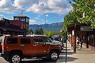 Whitefish Montana in summer with Big Mountain in the background. Flathead County, Montana.