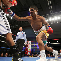 """Julio Santos (right) fights against Lazar Stojadinovic during a """"Boxeo Telemundo"""" boxing match at the Kissimmee Civic Center on Friday, July 18, 2014 in Kissimmee, Florida.  (AP Photo/Alex Menendez)"""