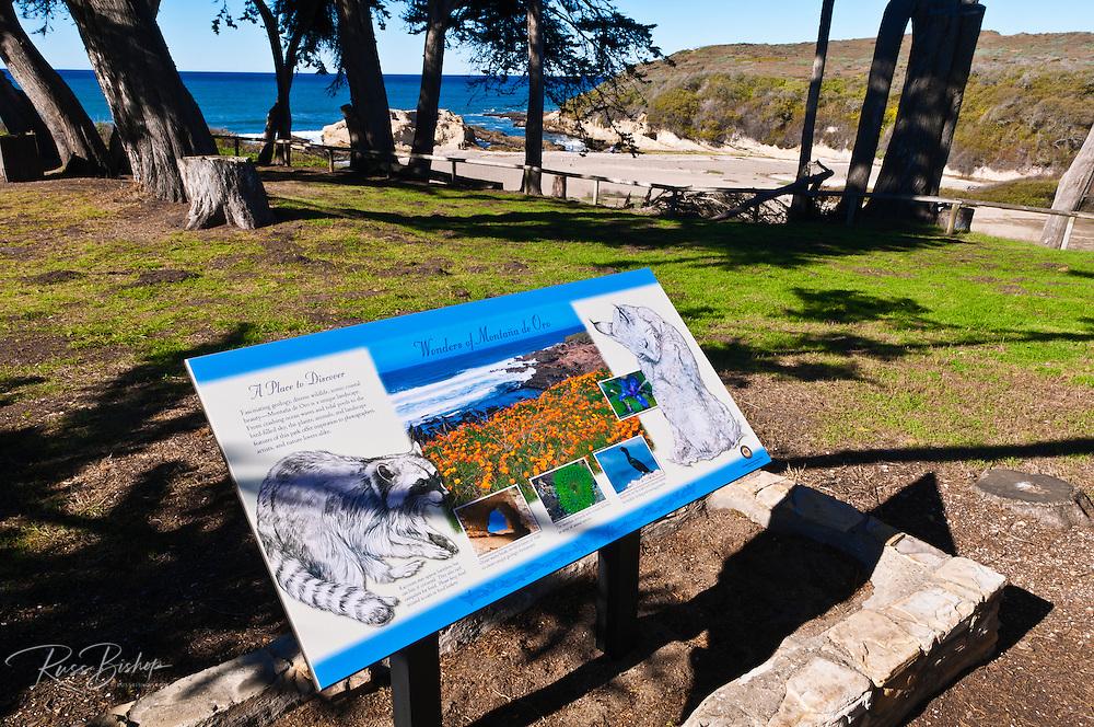Interpretive sign at the visitor center, Montana de Oro State Park, California USA