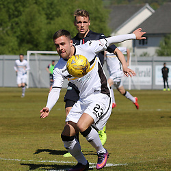 Lewis Vaughan takes on the Falkirk defence during the Dumbarton v Falkirk Scottish Championship 06 May 2017<br /> <br /> <br /> <br /> <br /> <br /> (c) Andy Scott | SportPix.org.uk