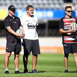 DURBAN, SOUTH AFRICA - MAY 04: Dick Muir as an attack and backline consultant of the Cell C Sharks with Robert du Preez (Head Coach) of the Cell C Sharks and Deane Macquet (Physiotherapist) of the Cell C Sharks during the Cell C Sharks captains run at Jonnsons Kings Park on May 04, 2018 in Durban, South Africa. (Photo by Steve Haag/Gallo Images)
