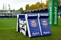 A general view of Bath Rugby branded tackle bags - Mandatory byline: Patrick Khachfe/JMP - 07966 386802 - 13/10/2018 - RUGBY UNION - The Recreation Ground - Bath, England - Bath Rugby v Toulouse - Heineken Champions Cup