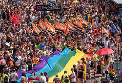© Licensed to London News Pictures.  14/07/2018; Bristol, UK. Bristol Pride 2018; parade through Bristol with the rainbow flag in celebration for all sections of the LGBT community. Photo credit: Simon Chapman/LNP