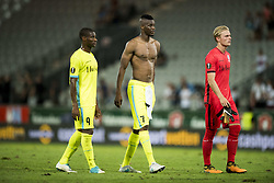 August 3, 2017 - Altach, AUSTRIA - Gent's Mamadou Sylla and Gent's Kalifa Coulibaly shows defeat after a soccer game between Austrian team SC Rheindorf Altach and Belgian club KAA Gent, the return leg of the third qualifying round for the UEFA Europa League competition, Thursday 03 August 2017 in Altach, Austria. The first leg resulted in a 1-1 draw. BELGA PHOTO JASPER JACOBS (Credit Image: © Jasper Jacobs/Belga via ZUMA Press)