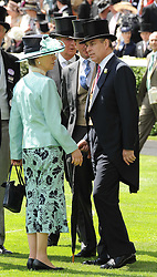 HRH The PRINCESS ROYAL and HRH The DUKE OF YORK at the first day of the 2010 Royal Ascot Racing festival at Ascot Racecourse, Berkshire on 15th June 2010.