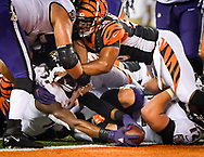 Baltimore Ravens running back Javorius Allen (37) reaches for a touchdown in the first half of an NFL football game against the Cincinnati Bengals, Thursday, Sept. 13, 2018, in Cincinnati. (AP Photo/Bryan Woolston)