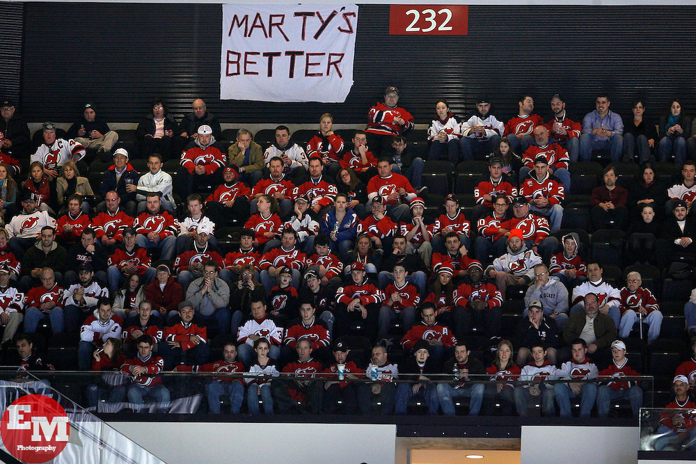 Feb 26, 2009; Newark, NJ, USA; The fans post signs for the return of New Jersey Devils goalie Martin Brodeur (30) during the first period at the Prudential Center.