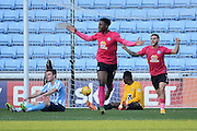 Peterborough United midfielder Jermaine Anderson celebrates scoring the first goal during the Sky Bet League 1 match between Coventry City and Peterborough United at the Ricoh Arena, Coventry, England on 31 October 2015. Photo by Alan Franklin.
