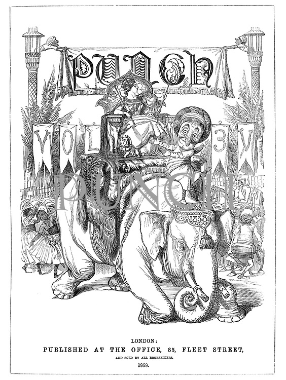 Frontispiece to Punch, Vol. 3V (Mr Punch and Queen Victoria in India riding an elephant)