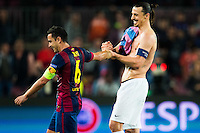 Zlatan Ibrahimovic / Xavi - 21.04.2015 - Barcelone / Paris Saint Germain - 1/4Finale Retour Champions League<br /> Photo : Stiller / Bildbyran / Icon Sport