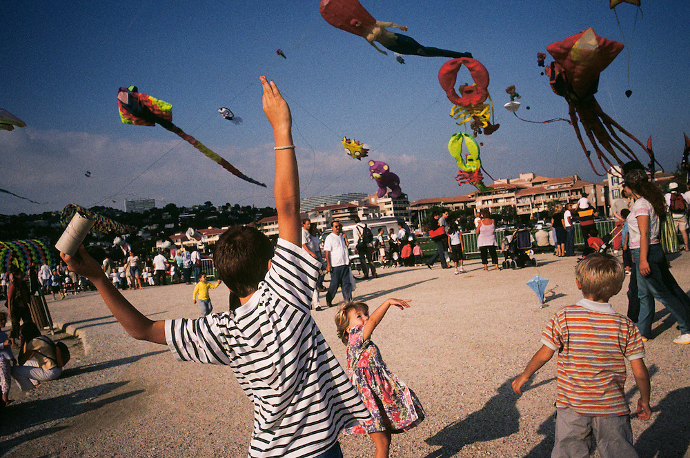 At the Fete du Vent (Festival of the Wind) in Marseilles, France, all manner of kites fly in the strong wind of the Midi.
