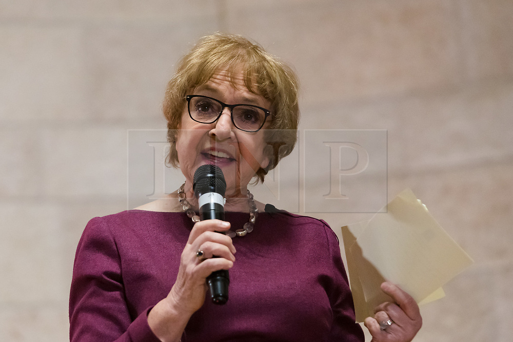 © Licensed to London News Pictures. 13/02/2020. London, UK. Dame Margaret Hodge MP speaking at the Jewish Labour Movement (JLM) Labour Party leadership hustings held at the Liberal Jewish Synagogue in St John's Wood. The JLM will announce its leadership nomination on Friday February 14th. Photo credit: Vickie Flores/LNP