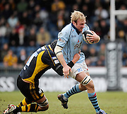 Wycombe, GREAT BRITAIN, Bristols matt SALTER, caught by John HARTS tackle, during the Guinness Premiership match, London Wasps vs Bristol Rugby, played at the Adams Park Stadium, on Sat. 23rd Feb 2008.  [Mandatory Credit, Peter Spurrier/Intersport-images]