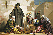 Massacre of Armenians by Ottoman Turks under Abdul Hamid, 1895-1896   Christian prisoners at Arabkir, Malatya Province, Anatolia.  Religious Conflict Turkey Trade Card  French Chromolithograph