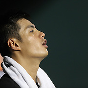 NEW YORK, NEW YORK - July 05: Pitcher Wei-Yin Chen #54 of the Miami Marlins in the dugout after pitching during the Miami Marlins Vs New York Mets regular season MLB game at Citi Field on July 05, 2016 in New York City. (Photo by Tim Clayton/Corbis via Getty Images)