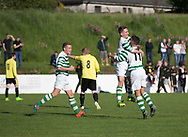 FC Kettledrum's Jake Davidson is congraulated after putting them 1-0 up against Charleston (yellow) in the Dundee Saturday Morning Football League George Mcarthur Memorial Cup Final at Glenesk, Dundee, Photo: David Young<br /> <br />  - &copy; David Young - www.davidyoungphoto.co.uk - email: davidyoungphoto@gmail.com