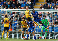 Football - 2016/2017 Premier League - Leicester Ciity V Arsenal. <br /> <br /> Rob Holding of Arsenal rises in front of Wes Morgan of Leicester City to defend a cross at The King Power Stadium.<br /> <br /> COLORSPORT/DANIEL BEARHAM