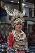 Actress with make up and Traditional Chinese Opera headdress. Photographed in Chengdu, Sichuan, China