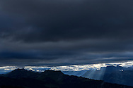 Cloud cover and the foothills of the Bernese Alps with Brienzer Rothorn and Augstmatthorn in the morning, Niederhorn, Interlaken, Berne, Switzerland