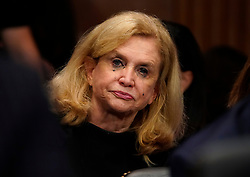 September 27, 2018 - Washington, District of Columbia, U.S. - Rep. CAROLYN MALONEY, D-N.Y., cries as Dr. Ford testifies before the Senate Judiciary Committee on Capitol Hill. (Credit Image: © Andrew Harnik/Pool via ZUMA Wire)
