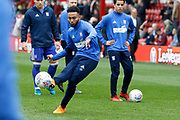Ipswich Town midfielder Grant Ward (18) warms up before kick off during the EFL Sky Bet Championship match between Brentford and Ipswich Town at Griffin Park, London, England on 7 April 2018. Picture by Andy Walter.