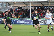 Glasgow Warriors winger Tommy Seymour (14) runs towards the line during the Heineken Champions Cup match between Glasgow Warriors and Cardiff Blues at Scotstoun Stadium, Glasgow, Scotland on 13 January 2019.