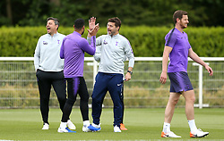Tottenham Hotspur manager Mauricio Pochettino (centre) during the training session at Enfield Training Ground, London.