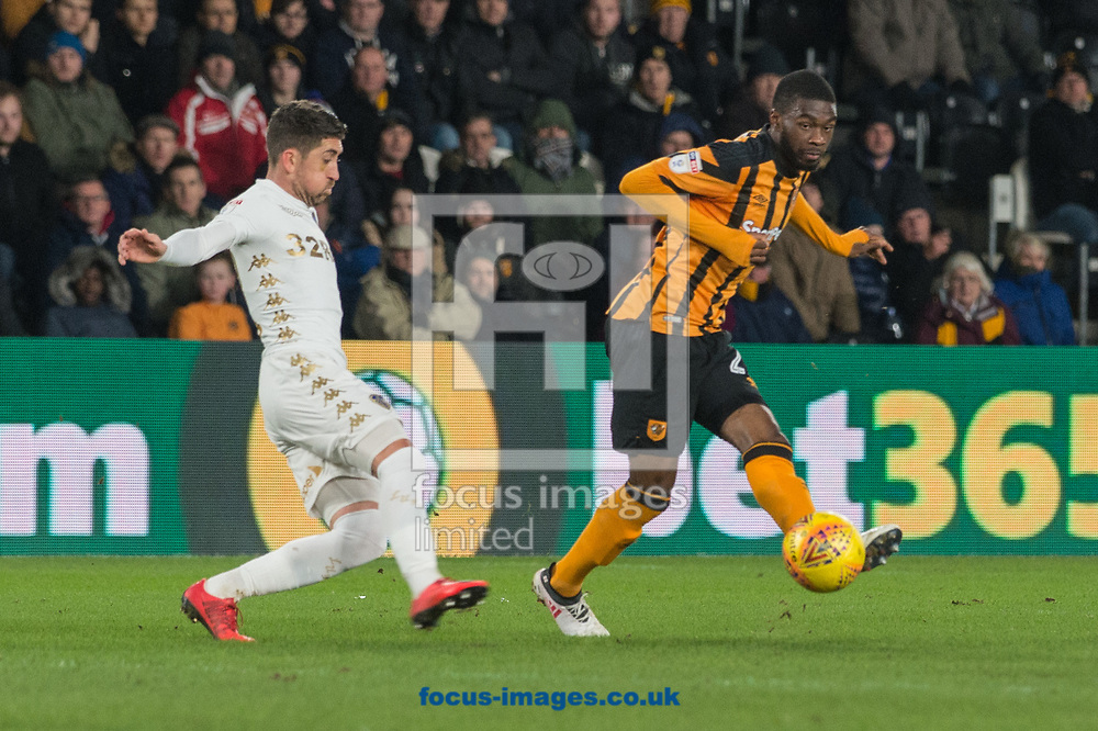 Fikayo Tomori of Hull City attempts to thread a ball through the Leeds United defence during the Sky Bet Championship match at the KCOM Stadium, Hull<br /> Picture by Matt Wilkinson/Focus Images Ltd 07814 960751<br /> 30/01/2018