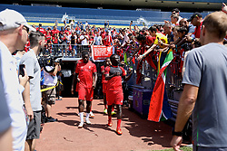 ANN ARBOR, USA - Friday, July 27, 2018: Liverpool's Sheyi Ojo and Sadio Mane arrive for  a training session ahead of the preseason International Champions Cup match between Manchester United FC and Liverpool FC at the Michigan Stadium. (Pic by David Rawcliffe/Propaganda)