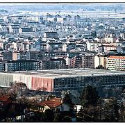 Palazzo del lavoro, Torino..Progettato dall'ingegnere Pier Luigi Nervi e dall'architetto ordinatore Gio Ponti, fu completato nel 1961 nel complesso di Italia '61, quartiere Nizza Millefonti nella città di Torino, in occasione delle celebrazioni per il Centenario dell'Unità d'Italia