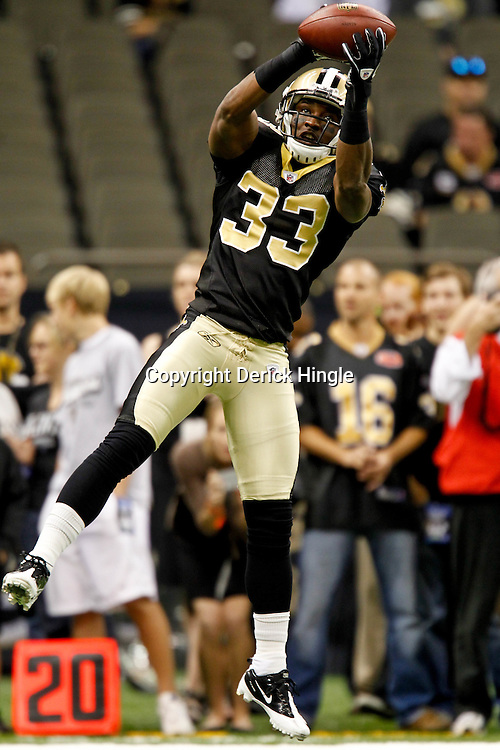September 1, 2011; New Orleans, LA, USA; New Orleans Saints defensive back Jabari Greer (33) during warm ups prior to kickoff of a preseason game against the Tennessee Titans at the Louisiana Superdome. The Titans defeated the Saints 32-9. Mandatory Credit: Derick E. Hingle