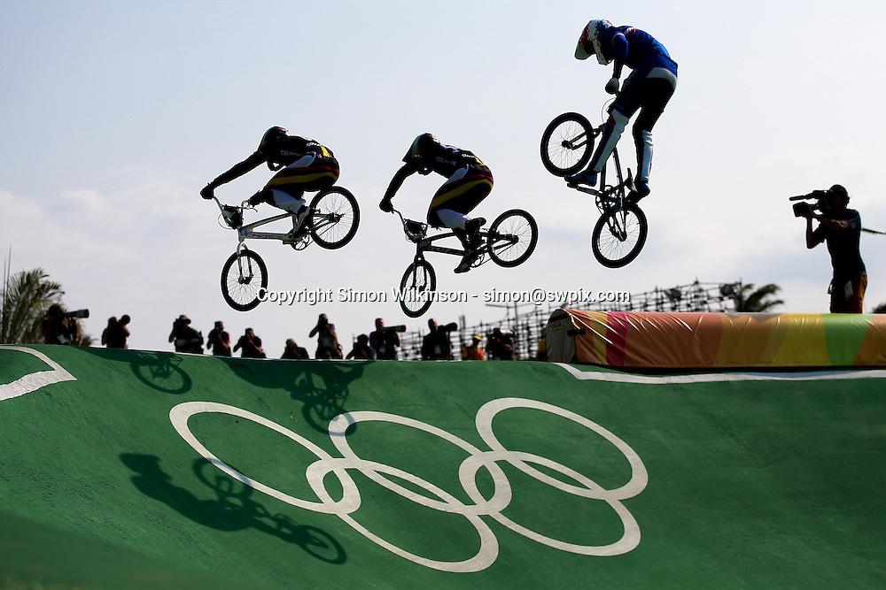 18/08/2016 - 2016 Rio Olympic Games - BMX - Olympic BMX Centre, Rio de Janeiro, Brazil - Men's Quarter Finals. Picture by Alex Whitehead/SWpix.com / www.photosport.nz