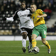 Derby - Tuesday October 28th, 2008: Nathan Ellington of Derby County and Sammy Clingan of Norwich City in action during the Coca Cola Championship match at Pride Park, Derby. (Pic by Michael Sedgwick/Focus Images)