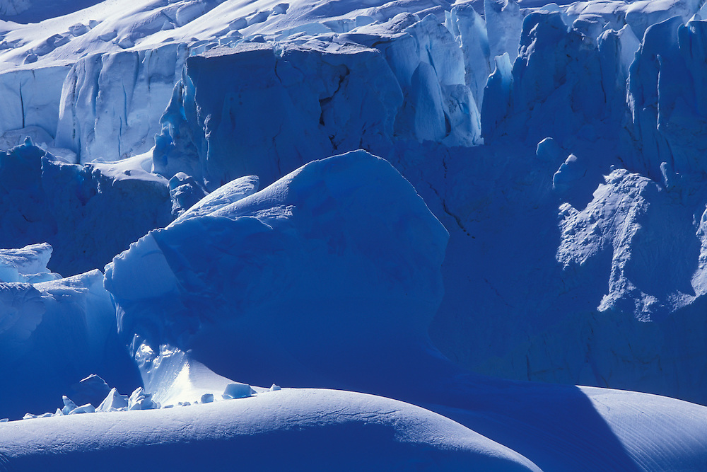 Antarctica, Livingston Island, Heavily crevassed tidewater glaciers line coastline in South Shetland Islands