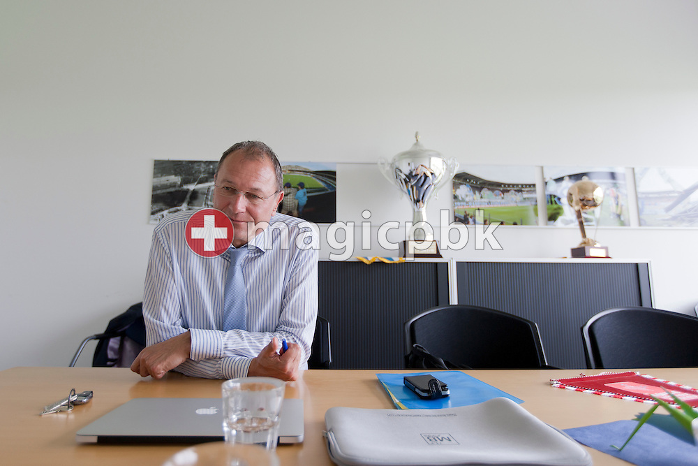 Andre DOSE of Switzerland, President of Grasshopper Club Zuerich (GC) a Swiss Super League (National League A) soccer team, is listening during an interview in his office, a meeting/confernce room at the GC Campus in Niederhasli, Switzerland, Tuesday, May 8, 2012. (Photo by Patrick B. Kraemer / MAGICPBK)
