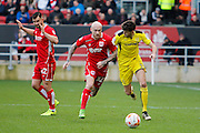 Burton Albion defender Tom Flanagan (2) battles for possession with Bristol City midfielder David Cotterill (32) during the EFL Sky Bet Championship match between Bristol City and Burton Albion at Ashton Gate, Bristol, England on 4 March 2017. Photo by Richard Holmes.