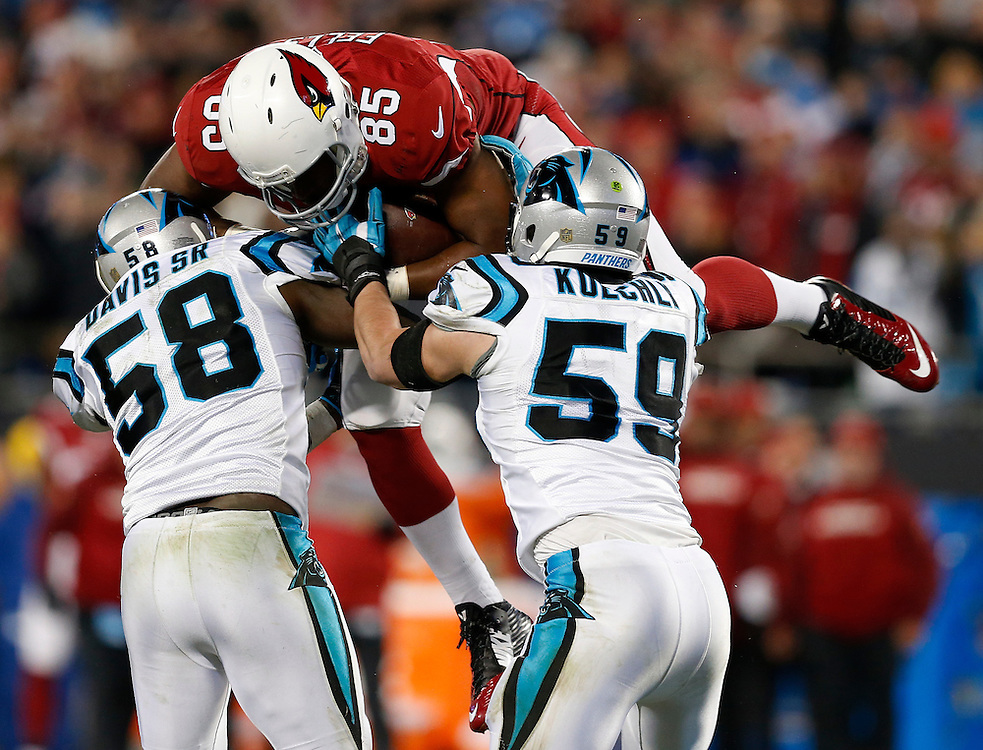 CHARLOTTE, NC - JAN 24:  Linebackers Thomas Davis #58 and Luke Kuechly #59 of the Carolina Panthers tackle tight end Darren Fells #85 of the Arizona Cardinals during the NFC Championship game at Bank of America Stadium on January 24, 2016 in Charlotte, North Carolina.  Davis injured his arm on the play.