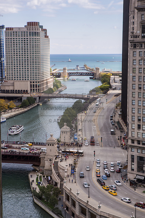 Looking down Wacker Drive and the Chicago River by in Chicago, IL.
