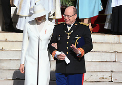 Prince Albert II and Princess Charlene The royal family of Monaco leaving the St. Nicholas Cathedral for the beginning of the National Day festivities on November 19th 2019.
