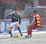 Dundee&rsquo;s Greg Stewart takes on Partick Thistle&rsquo;s Stuart Bannigan  - Partick Thistle v Dundee, Ladbrokes Premiership at Firhill<br /> <br />  - &copy; David Young - www.davidyoungphoto.co.uk - email: davidyoungphoto@gmail.com