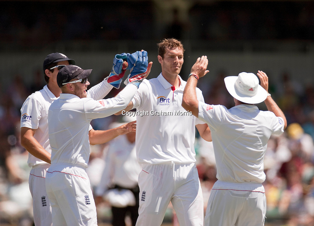 Bowler Chris Tremlett celebrates the wicket of Steve Smith during the third Ashes test match between Australia and England at the WACA (West Australian Cricket Association) ground in Perth, Australia. Photo: Graham Morris (Tel: +44(0)20 8969 4192 Email: sales@cricketpix.com) 18/12/10